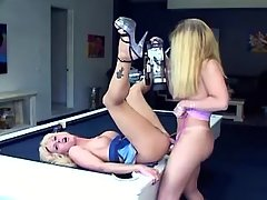 Blonde shemales fucking in poolroom