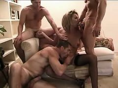 Cockloving shemale in foursome orgy