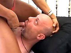 Exotic ts makes guy suck her dick