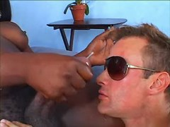 Dude gets facial from big black TS
