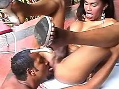 Exotic lustful tranny sucked by man