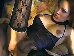Guy fucks ts in sexy black outfit